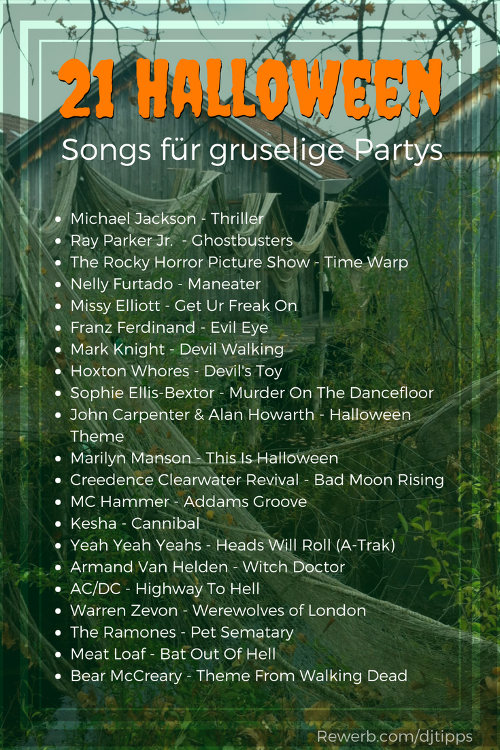 21 Halloween Party Songs - Gruselig, schaurige Musik als Playliste