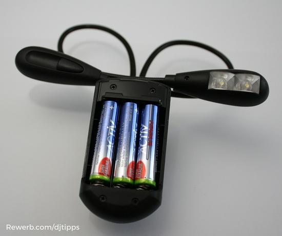Batteriefach der LED Notenpultbeleuchtung