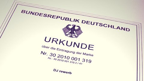 Markenurkunde DJ-Name, Deutsches Patentamt