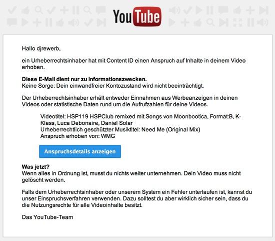 Hinweis auf Urheberrechtsanspruch von Youtube