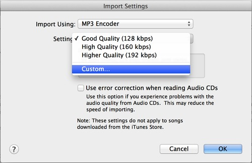 Import Einstellung MP3 Encoder Fraunhofer in iTunes