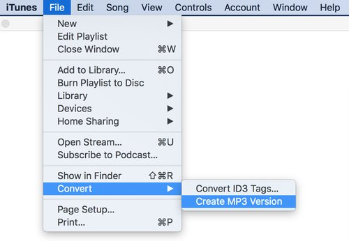 iTunes -> Datei-Menü -> Convert -> Create MP3 Version