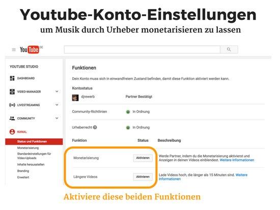Youtube Konto-Einstellungen für Monetarisierung und längere Videos