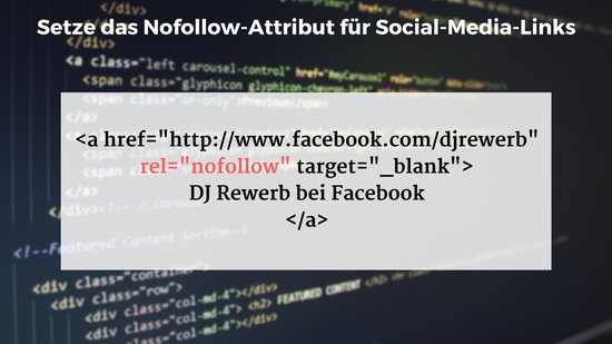 Setze das Nofollow-Attribut für Social-Media-Links