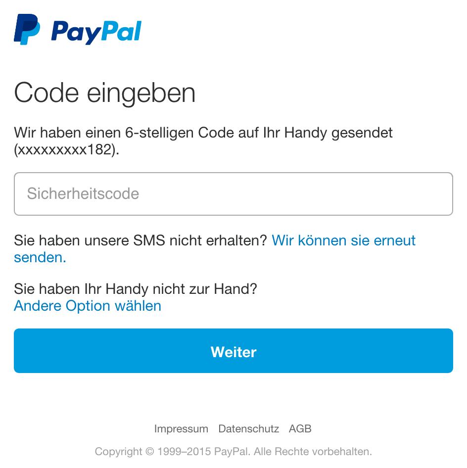 paypal sicherheitscode sms