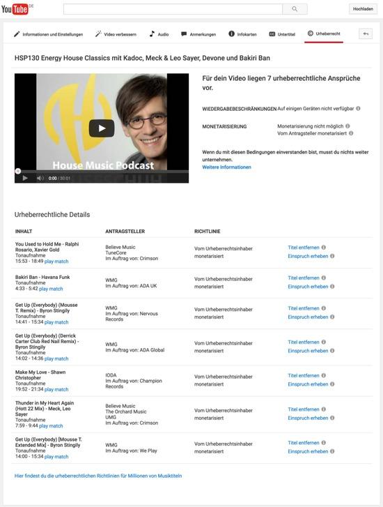 Musik bei Youtube vom Urheberrechtsinhaber monetarisiert