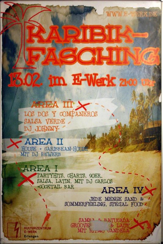 Karibik Fasching, Plakat, E-Werk
