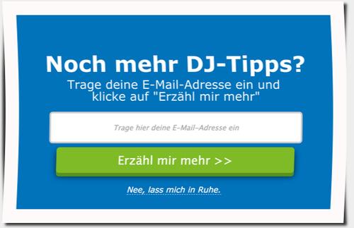 Popup-Fenster mit Anmelde-Formular für Newsletter