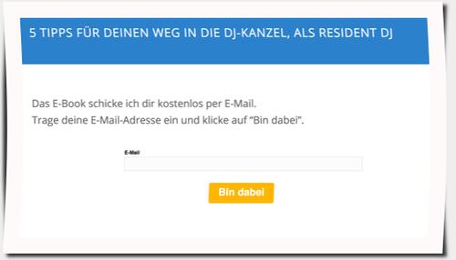 Anmeldeformular für DJKanzel-Newsletter