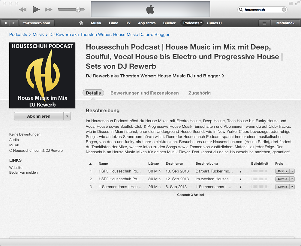 iTunes listet Houseschuh Podcast
