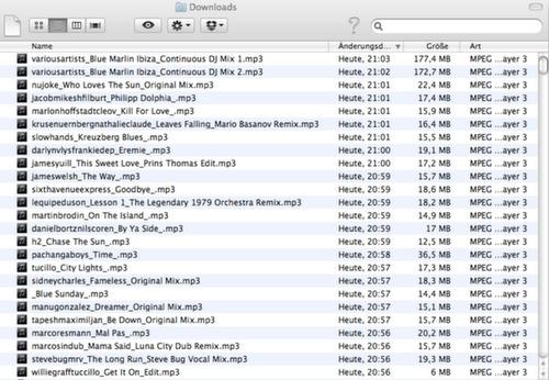 Neu gekaufte MP3-Dateien in Ordner sammeln