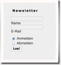 Newsletter Anmeldung, Joomla Seitenleiste, Stand 2006