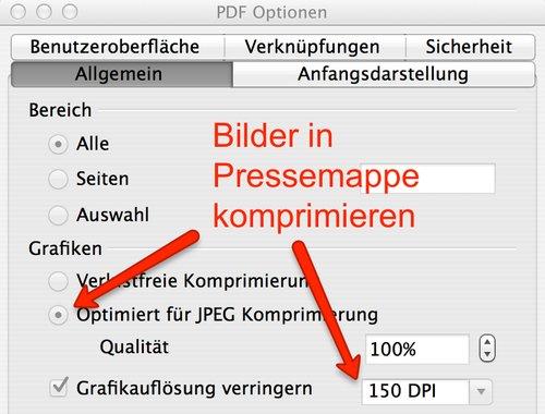 PDF Export-Optionen in Open-Office nutzen, für kleinere PDF-Dateien