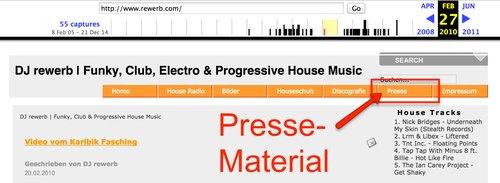 Verlinkte Presse-Informationen für DJ-Webseite