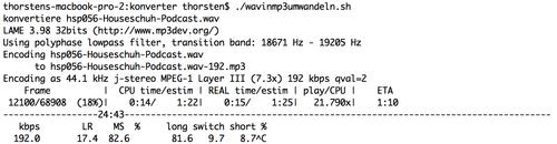 MP3 kodieren mit Lame, Kommandozeile