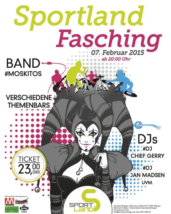 Plakat Sportland Fasching 2015 in Erlangen