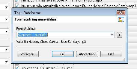 Tag/Dateiname, Formatstring %artist-%title im Programm MP3Tag