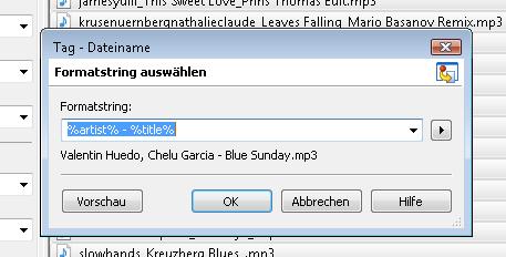 Tag/Dateiname, Formatstring %artist-%title im Programm MP3Tag