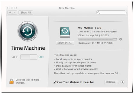 Laptop-Sicherung mit Timemachine Backup