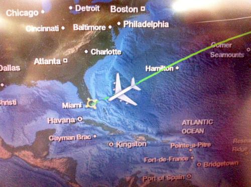 Anflug Miami nach Langstreckenflug