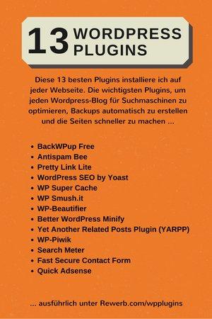 Infografik: 13 besten WordPress Plugins