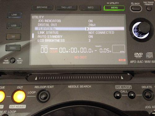 CDJ 2000: Player Nummer einstellen, über Menü-Taste
