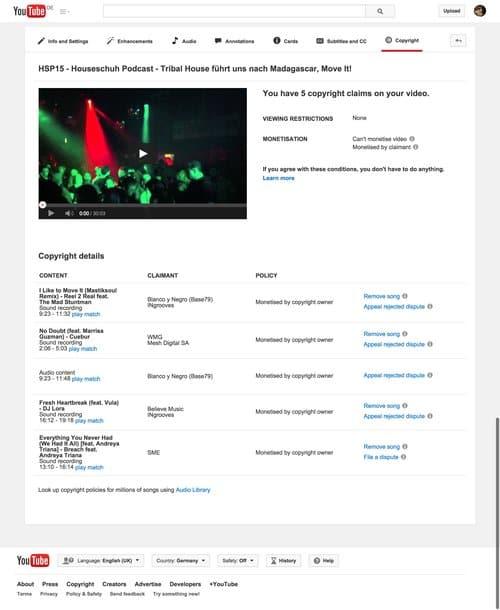 Youtube monetarisiert Video zugunsten des Original-Künstlers