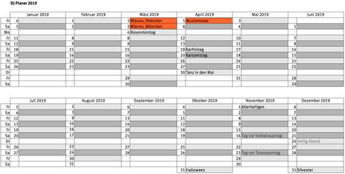 DJ Planer 2019, Party Kalender als Tabelle