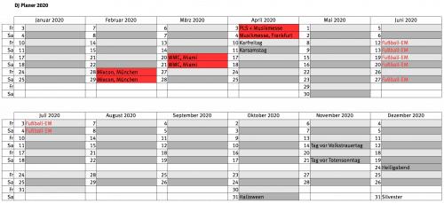 DJ Planer 2020, Party Kalender als Tabelle
