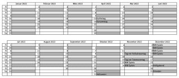 DJ Planer 2022: Party Kalender als Tabelle