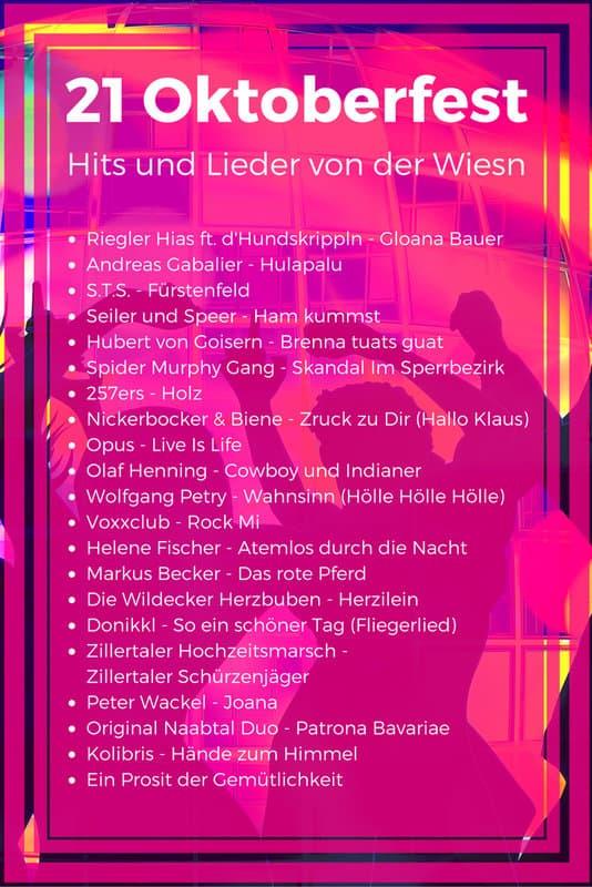 21 Oktoberfest Hits und Stimmungslieder von der Wiesn