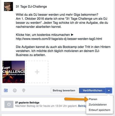 Beitrag bei Facebook im voraus planen