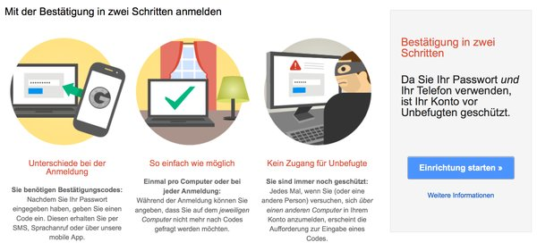 Bestätigung in zwei Schritten bei Google