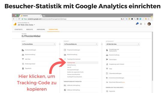 Besucher-Statistik mit Analytics einrichten, Tracking-Code