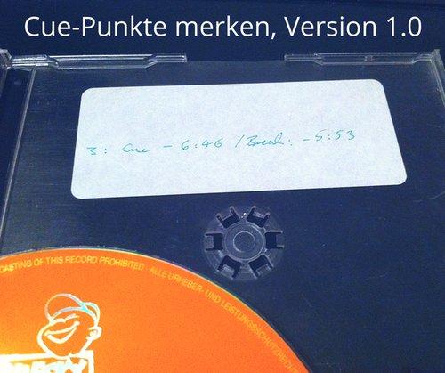 Cue-Punkte in CD-Hülle geschrieben