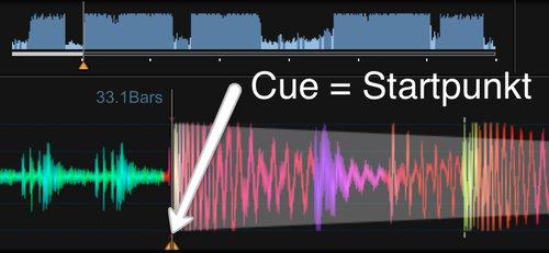 Cue als Startpunkt eines Lieds für DJ-Mix