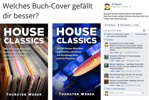 E-Book Cover Contest, Facebook Freunde nach Meinung fragen