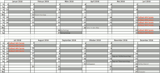 DJ-Bookingkalender 2018, Tabelle mit allen Wochenendterminen