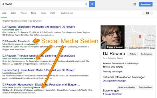 Social-Media-Seiten in Suchergebnissen