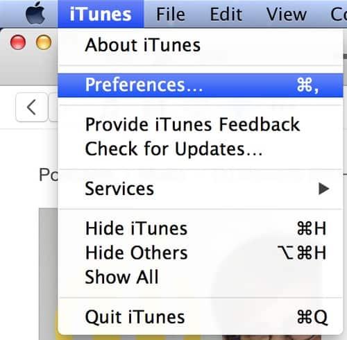 Einstellungen iTunes Menü