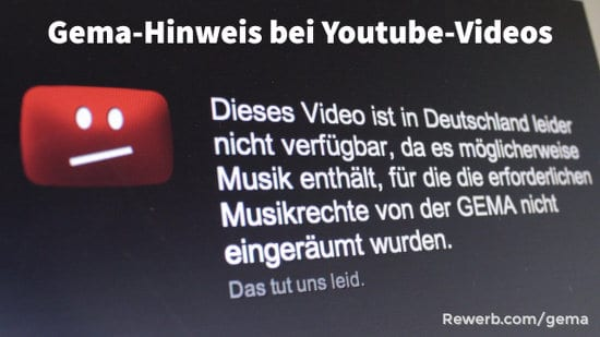 Gema-Hinweis in Youtube-Videos