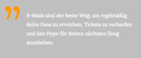 E-Mails sind der beste Weg, um regelmäßig deine Fans zu erreichen, Tickets zu verkaufen und den Hype für deinen nächsten Song anzuheizen