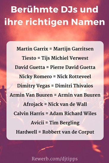 Berühmte DJs und ihre richtigen Namen