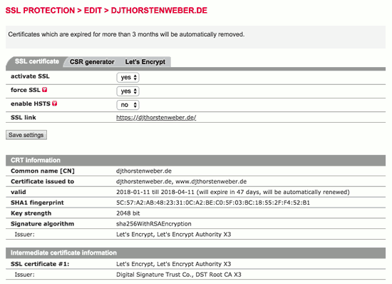 LetsEncrypt-Zertifikat beim Provider All-Inkl einrichten