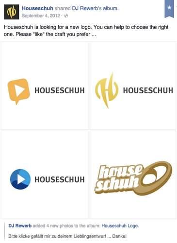 Houseschuh Logo entwerfen, bei Facebook Sieger bestimmen lassen