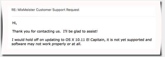 Antwort Mixmeister Support Anfrage zu El Capitan