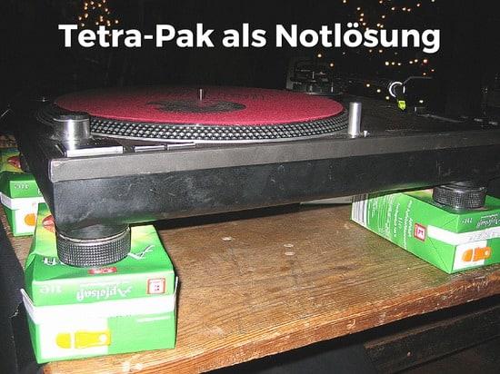 Tetra-Pak als Dämpfung für Plattenspieler