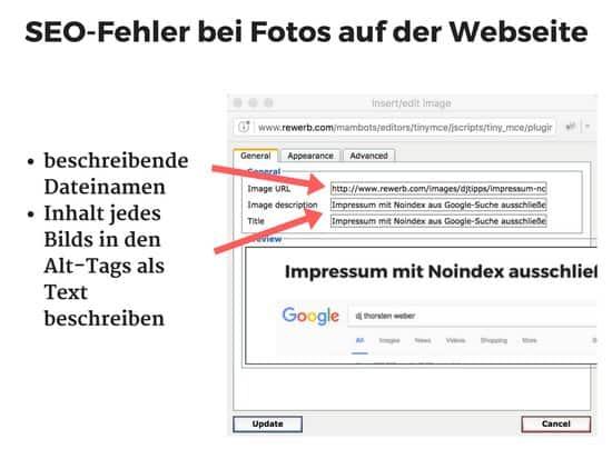SEO-Fehler bei Bildern und Fotos auf der Webseite