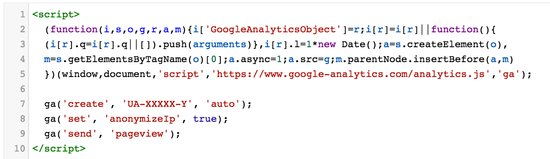 Tracking-Code von Google Analytics auf anonym stellen