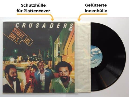 Vinyl-Schallplatten vor Staub schützen, mit einer gefütterten Innenhülle und PE-Schutzhülle für das Plattencover